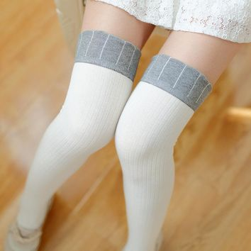 Fashion COTTON Knitting Socks Sexy Women Girl Thigh High Over the Knee Socks patchwork Stockings Student Japanese Stockings
