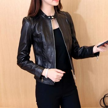spring autumn women fashion elegant zipper Pu leather coat jacket women casual slim leather coat jacket
