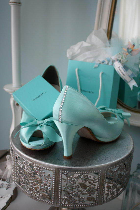 tiffany blue wedding shoes wedding shoes blue crystals from parisxox on 8002