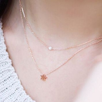PEAPDQ7 Elegant  Women's Double Layer Pearl Star Pattern Necklace Choker Necklace