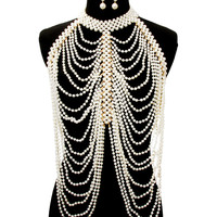 gold pearl choker necklace earrings collar body chain armor