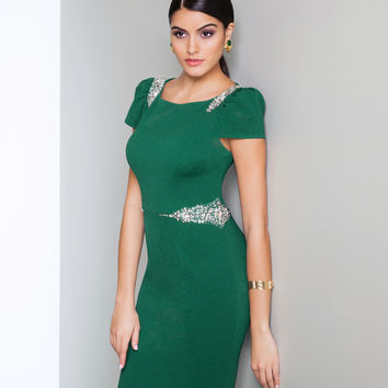 Preorder - Mignon AL3086 Emerald Beaded Short Sleeve Dress Fall 2015