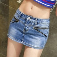 S-3XL Denim Skort Shorts For Women 2017 Summer New Arrival Double Zipper Fashion Sexy Woman Mini Jean Shorts Skirt Plus Size