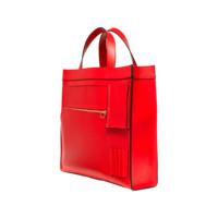 Inside-Out-Pocket Tote in Leather with Tonal Trim