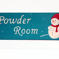 Powder Room Winter Wooden Sign Decor
