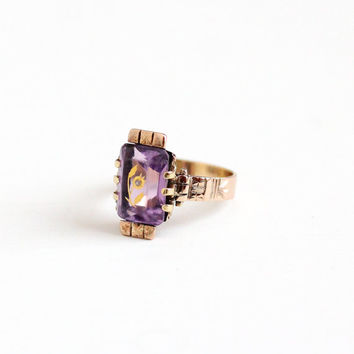 Antique 10K Rose Gold Amethyst & Diamond Flower Ring - Size 7 1/2 Victorian Rose Of Sharon Purple Gemstone Inlay Fine Engagement Jewelry
