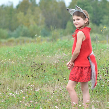"Halloween Fox Costume ""Foxtume"" - Wool Felted Dress Hat and Tail - Eco Friendly Kids Dress Up (Ready to Ship 2-3T)"