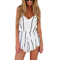 Fashion Striped Chiffon Jumpsuit Women Sexy Scoop Neck Spaghetti Strap Boho Beach Shorts Rompers Bodysuit Macaquinho White