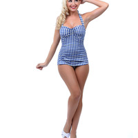 Esther Williams 1950s Style Royal Blue & White Gingham One Piece Swimsuit