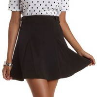 Black Button-Tab Skater Skirt by Charlotte Russe