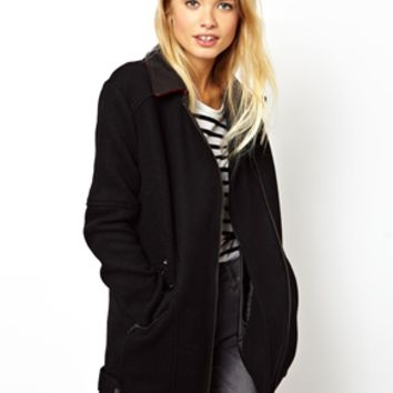 ASOS Biker Coat With Leather Collar - Black