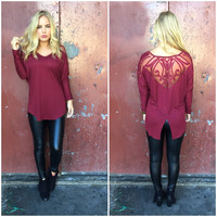 Frame Of Mind Embroidered Top - BURGUNDY