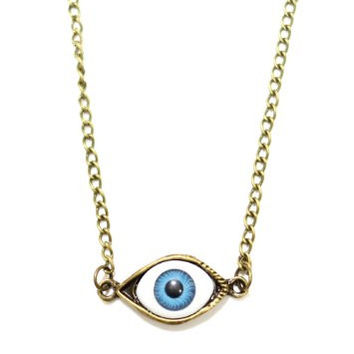 Third Eye Chakra Necklace Gothic Eyeball Occult NC21 Gold Tone Pendant