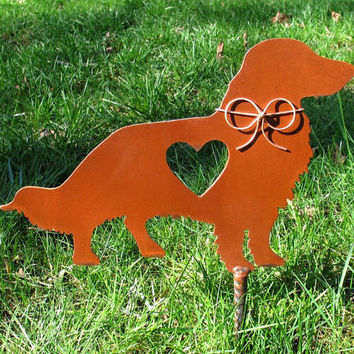 Long Haired Dachshund Dog Metal Garden Stake - Metal Yard Art - Metal Garden Art - Pet Memorial