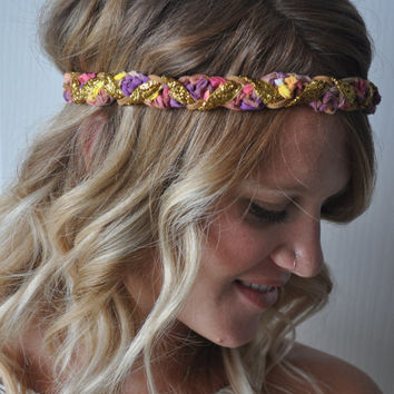Braided Boho Headband Sparkly Hippie Summer Hair Accessory