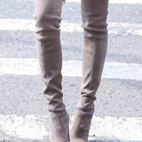 Gray Suede Heeled Over the Knee Boots with Tie