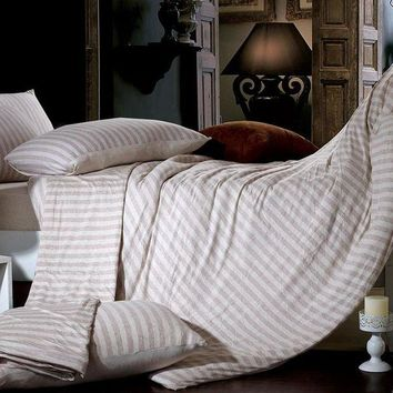 ac DCK83Q Bedroom Hot Deal On Sale Bedding Stripes Cotton Knit Bedding Set [45978648601]