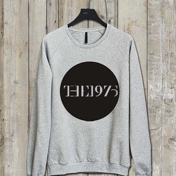 the 1975 logo Music tee Ash Grey  Long Sleeve Crew Neck Pullover Sweatshirt