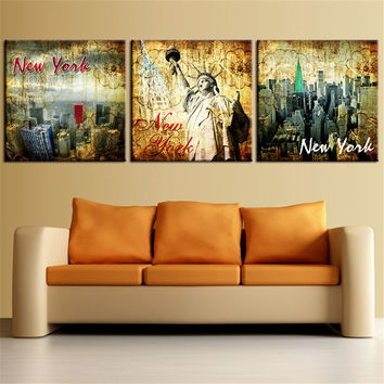 3 Piece Modern Abstract Oil Painting New York Landscape Home Decor Canvas Art Poster Print Wall Picture for Living Room No Frame