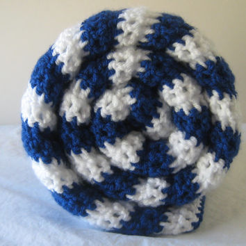MAY SALE! Royal Blue and White Stripe Baby Blanket Crochet