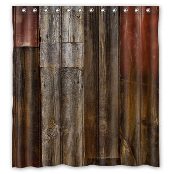 Classical Vintage Rustic Brown Faux Wood Shower Curtain 66x72