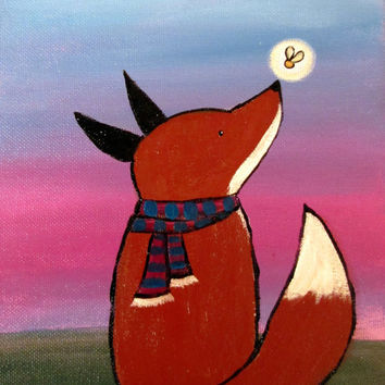 Fox and Firefly Painting, Kids Wall Art, Woodland Nursery Decor