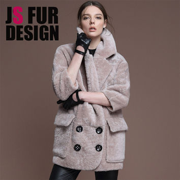 Vintage Genuine Shearling Fur coats Breasted Pocket Cool-Chic Lady Fashion Over size Warm Winter Real Fur Women Coats For Women
