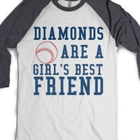 Diamonds Are A Girl'S Best Friend Baseball Tee-T-Shirt L |