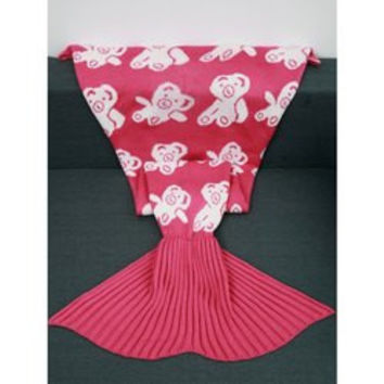 Acrylic Knitted Bear Pattern Mermaid Tail Blanket