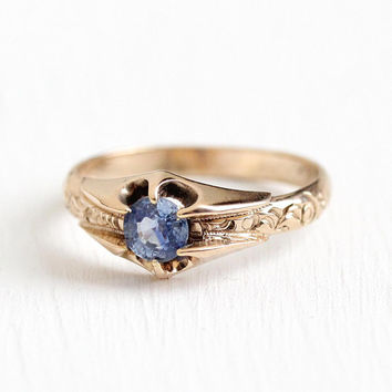 Vintage Sapphire Ring - Antique 10k Rosy Yellow Gold .62 CT Engagement - Size 8 Genuine Blue Gemstone Early 1900s Fine Belcher Jewelry