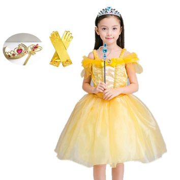 Girl Dress Kids Girl Beauty and beast Belle Halloween cosplay costume Christmas Princess Party Dress for Children Girl Clothing