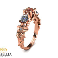 Three stone ring 14K Rose Gold Morganite Ring,Camellia Jewelry,Two Tone Engagement ring,Flower Ring,3 Stone Engagment Ring,Art Deco Ring.