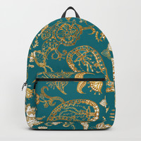 Golden Indian henna in green Backpacks by Color and Color