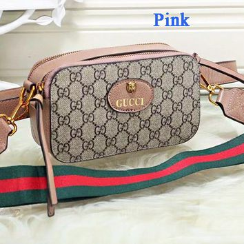 Gucci Tiger Head Camera Bag Women Waist Bag Shoulder Bag Full Color B-WMXB-PFSH Pink