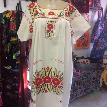 Mexican Handmade Embroidered Maxi Dress