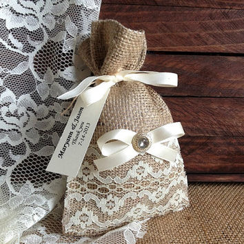 personalized lace covered burlap favor bag, wedding, bridal shower, tea party gift bag