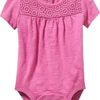 Old Navy Embroidered Inset Bodysuits For Baby