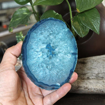 "4.5"" x 3.25"" x 3/4"" THICK Agate Slice, DYED Blue Crystal, Paper Weight, Coaster"