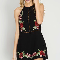 Floral Patch Sleeveless Romper - Black