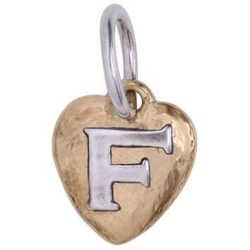 "Waxing Poetic Heartswell Insignia Letter ""F"" Charm"