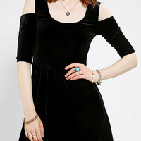 Evil Twin Night Returns Velvet Split-Shoulder Dress