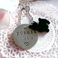 Yorkie Mom Or Dad Hand Stamped Keychain Made to order