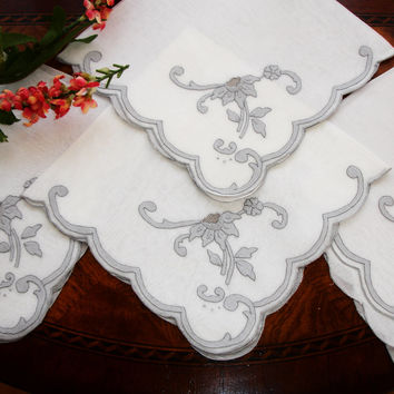 Napkins, Dinner Napkins, Elegant dining, Set of four, Silver and white, High end table setting, Wedding/Shower gift,  25th anniversary,