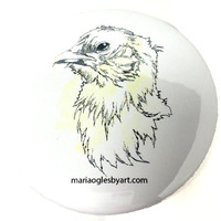 "Regal Little Chicken Artist Rendering Pen and Watercolor 3"" Pin Back Button, Funny Superior Looking Chick Watercolor Wash Drawing Pin On Art"