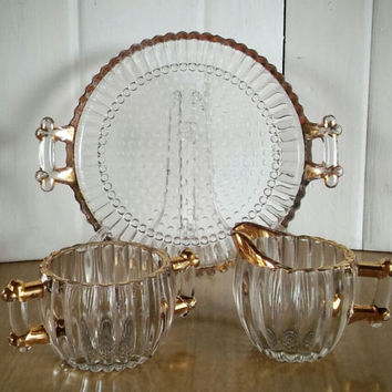 Jenette Glass Set, Vintage, Gold Barware Set, Vintage Barware, Federal Glass, Jenette Creamer, Jenette Sugar Bowl, Jenette Serving Tray