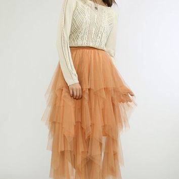 Ruffled and Tiered Mesh Skirt
