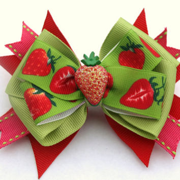 red and green strawberry hair bow- ott fruit bow- girls hair clip