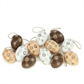 Set of 12 Natural Tone Floral Cut-Out Spring Easter Egg Ornaments 2.25""
