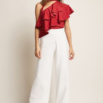 Polka Dot One-Shoulder Ruffle Top