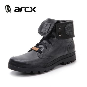 ARCX Retro style Men Leather Motorcycle Boots Lapel Men Leisure Shoes Motorcycle Knight Short Boots Men's Boots Retro